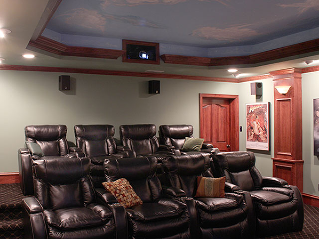 Balck Leather Home Theater Seats