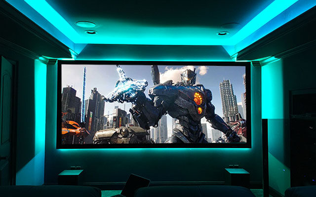 Home Theater with Lighting Accessories