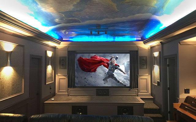 Dedicated Home Theater with Painted Ceiling